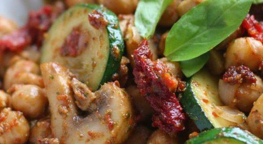Foodie Friday – Zucchini Pasta with Sun Dried Tomato Pesto and Chorizo